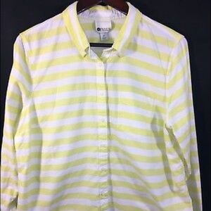 STYLUS Women's XL Shirt Yellow White Striped